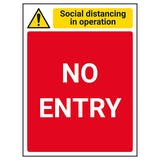 Social Distancing In Operation - No Entry - Red