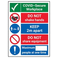COVID-Secure Workplace - Do Not Shake/2m Apart