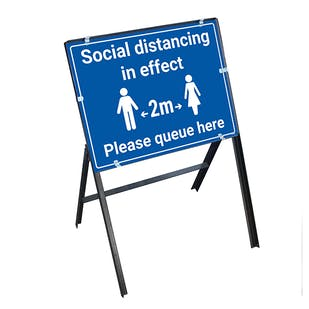 Social Distancing In Effect 2m Please Queue Stanchion Frame