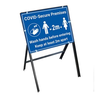 COVID-Secure Premises - 2m - Wash Hands Stanchion Frame