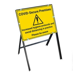 COVID-Secure Premises - Please Be Aware Stanchion Frame