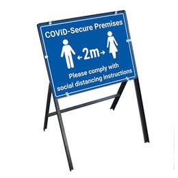 COVID-Secure Premises - Comply With Instructions Stanchion Frame
