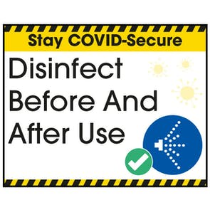 Stay COVID-Secure Disinfect Before And After Use Label
