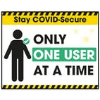 Stay COVID-Secure Only One User At A Time Label
