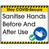 Stay COVID-Secure Sanitise Hands Before And After Use Label