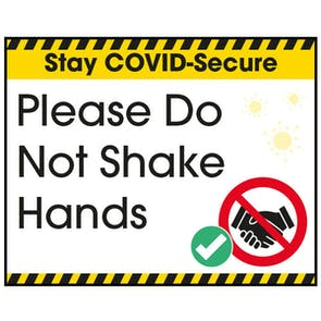Stay COVID-Secure Please Do Not Shake Hands Label