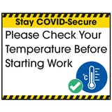 Stay COVID-Secure Please Check Your Temperature Label