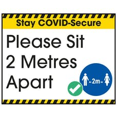 Stay COVID-Secure Please Sit 2 Metres Label