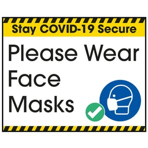 Stay COVID-Secure Please Wear Face Masks Label