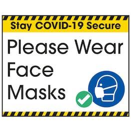 Stay COVID-Secure Please Wear Face Masks Label