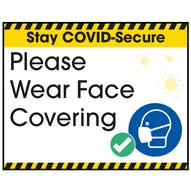 Stay COVID-Secure Please Wear Face Covering Label