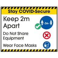 Stay COVID-Secure Keep 2m Apart/Wear Face Masks Label