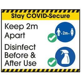 Stay COVID-Secure Keep 2m Apart/Disinfect Label