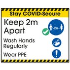 Stay COVID-Secure Keep 2m Apart - Wash Hands Regularly Label