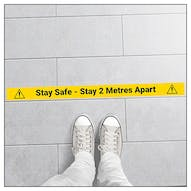 5 Pack - Stay Safe - Stay 2 Metres Apart Temporary Floor Markers