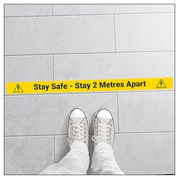 5 Pack - Stay Safe - Stay 2M Apart Temporary Floor Markers