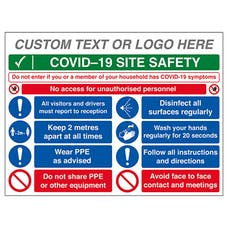 Custom Logo COVID-19 Site Safety - No Unauthorised Persons