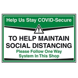 Stay COVID-Secure - Follow One Way System