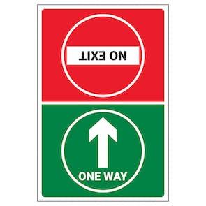 One Way/No Exit Temporary Floor Sticker