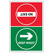 Keep Right/No Exit Temporary Floor Sticker