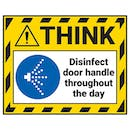 Think - Disinfect Door Handle Throughout The Day Label