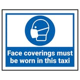 Face Coverings Must Be Worn In This Taxi Label