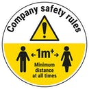 Company Rules - Keep 1m Distance Temporary Floor Sticker