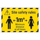 Site Safety Rules - 1m Minimum Distance Temporary Floor Sticker