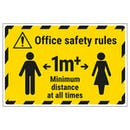 Office Safety Rules - 1m Minimum Distance Temporary Floor Sticker