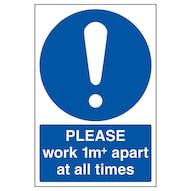 Please Work 1m Apart At All Times