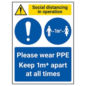 Social Distancing In Operation - PPE - Keep 1m Apart