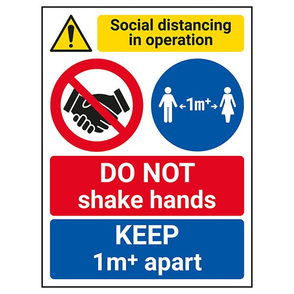 Social Distancing In Operation - DO NOT Shake Hands - 1m