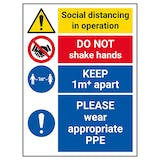 Social Distancing In Operation - 1M - Wear Appropriate PPE