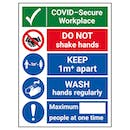 COVID-Secure Workplace - Do Not Shake -1M - Wash Hands