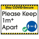 Stay COVID-Secure Please Keep 1 Metre Apart Label