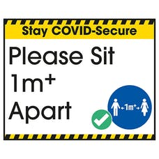 Stay COVID-Secure Please Sit 1 Metre Label