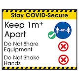 Stay COVID-Secure Keep 1m Apart Label