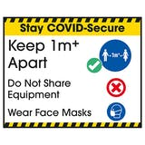 Stay COVID-Secure Keep 1m Apart/Wear Face Masks Label