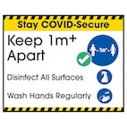 Stay COVID-Secure Keep 1m Apart - Disinfect All Label