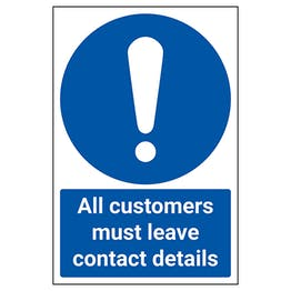 All Customers Must Leave Contact Details