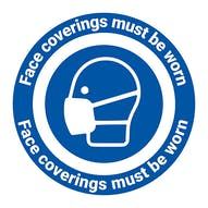 Face Coverings Must Be Worn Temporary Floor Sticker