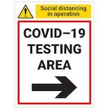 COVID-19 Testing Area - Arrow Right