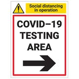 COVID-19 Testing Area - Arrow Right