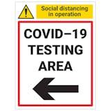 COVID-19 Testing Area - Arrow Left