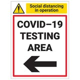 COVID-19 Testing Area - Arrow Left