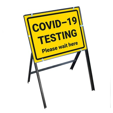 COVID-19 Testing - Please Wait Here Stanchion Frame