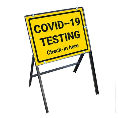 COVID-19 Testing - Check-In Here Stanchion Frame