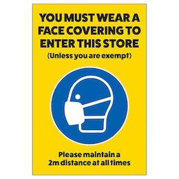 You Must Wear A Face Covering In Store