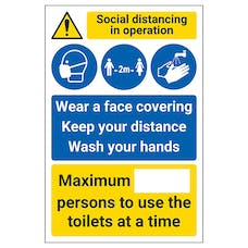 Social Distancing In Operation - Face Coverings.. - Toilet