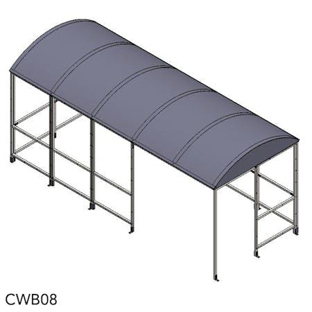 Domed 4-Sided Waiting Shelter - Aluminium Roof
